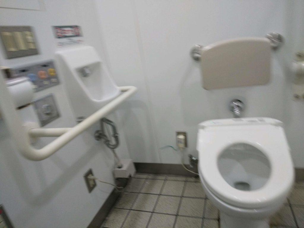 便器と壁が離れたトイレ。正面から。
